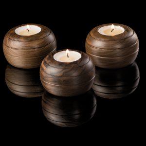 Walnut Tea Light Holder - 3pcs